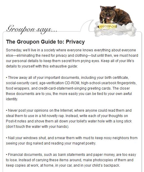 The Groupon Guide to Privacy